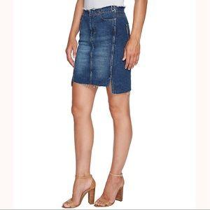PAIGE Ilana Step Hem Distressed Denim Miniskirt